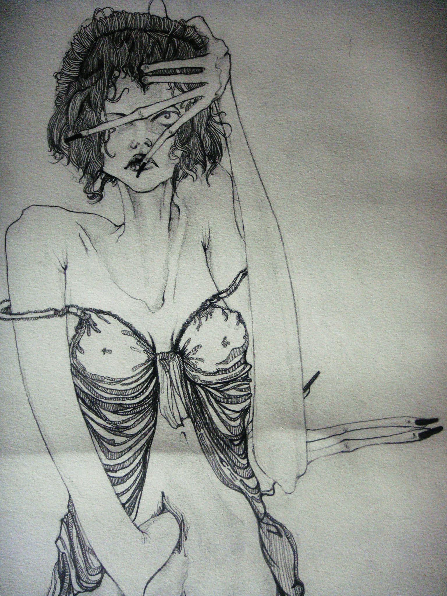 小丑女手绘图素描
