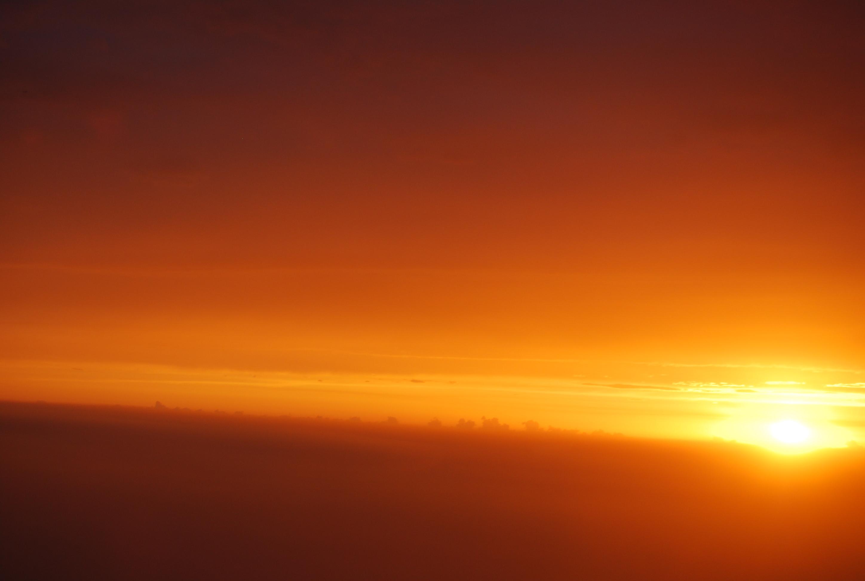 第一次在飞机上看日落