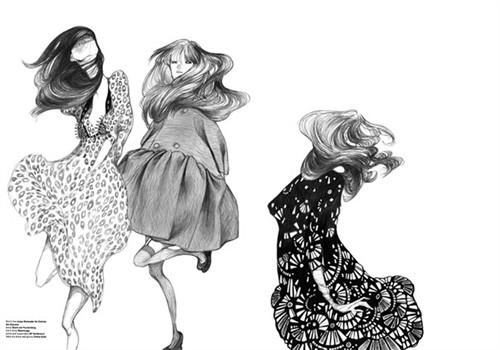 黑白色简易插画手绘图片