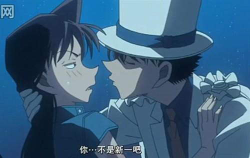 (这就是本片最大的卖点咯,基德和小兰的一吻——明显的商业炒作,和