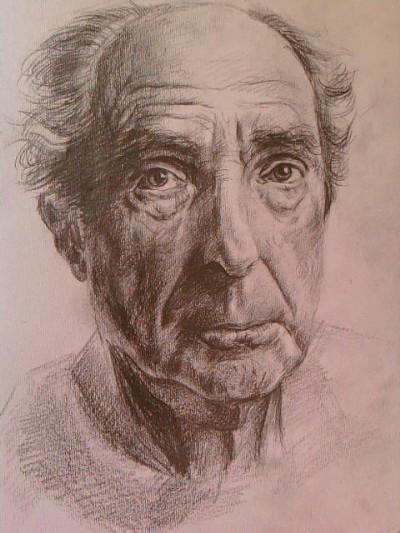 素描老人头像男