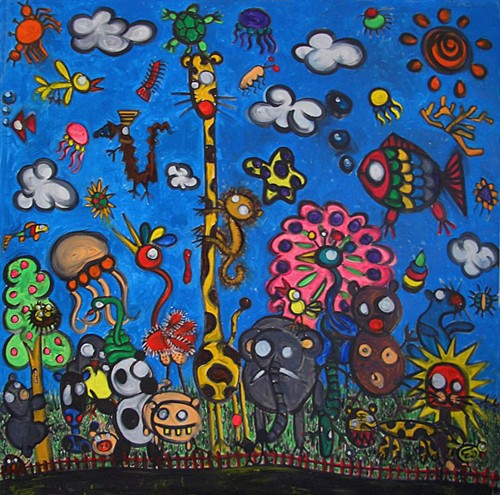 (动物园)120x120cm 布上油画