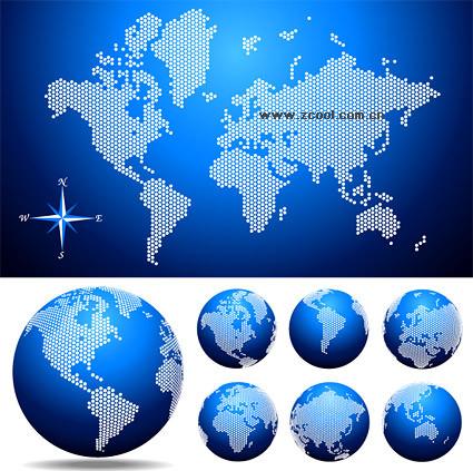 点状世界地图与地球矢量素材