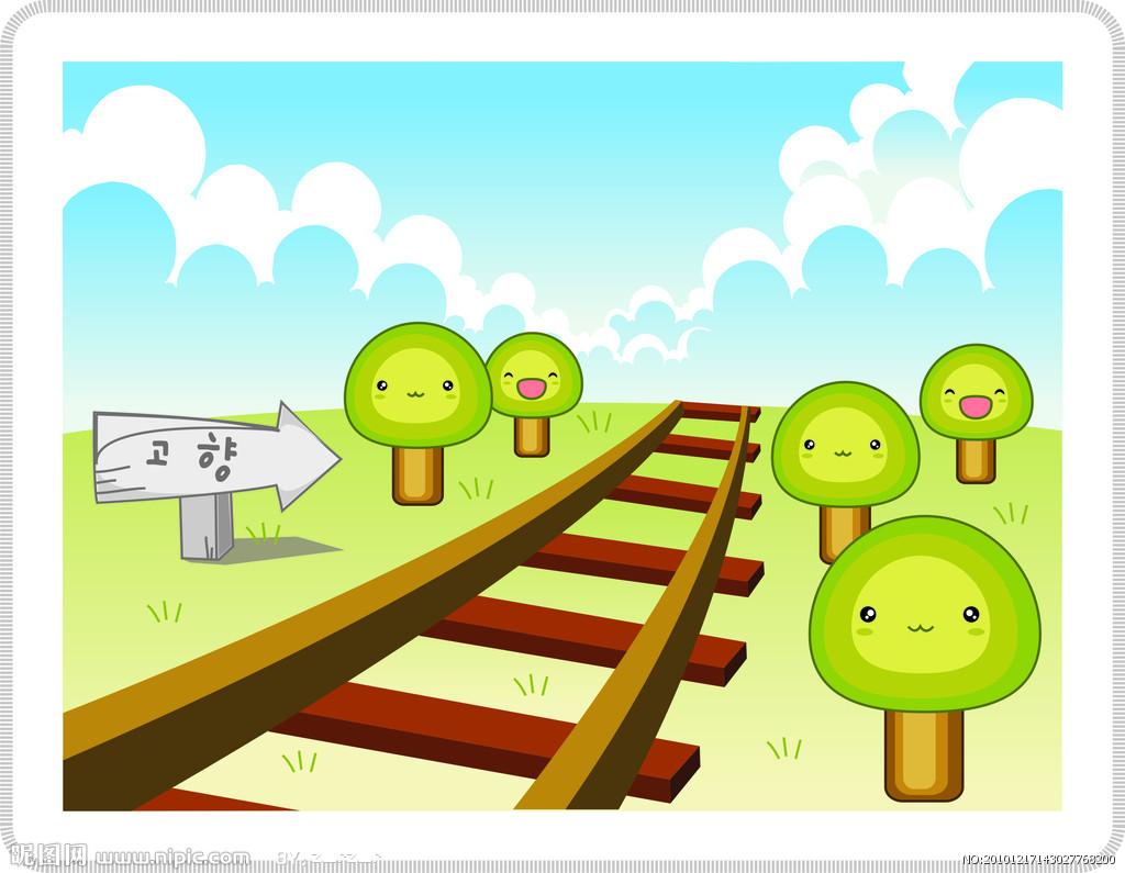 卡通铁轨火车矢量图