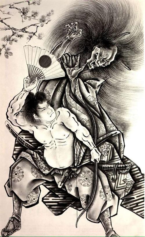 谢谢;; 百鬼夜行图纹身手稿; 百鬼图纹身