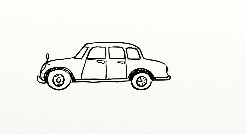 老黑轿车(随手画的,后改为宝马)