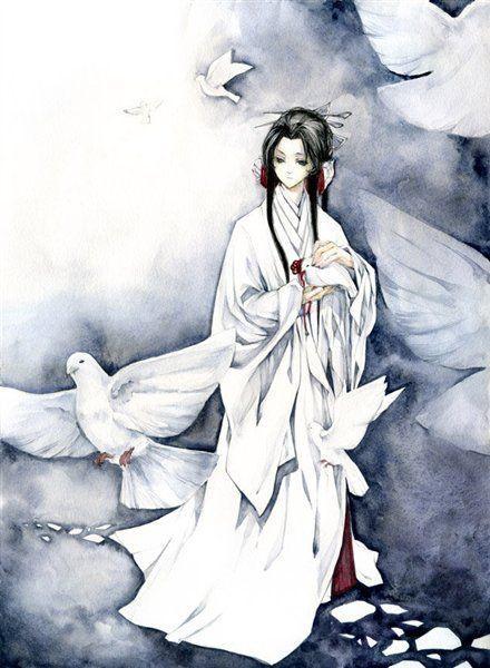 手绘古风白发女白衣子