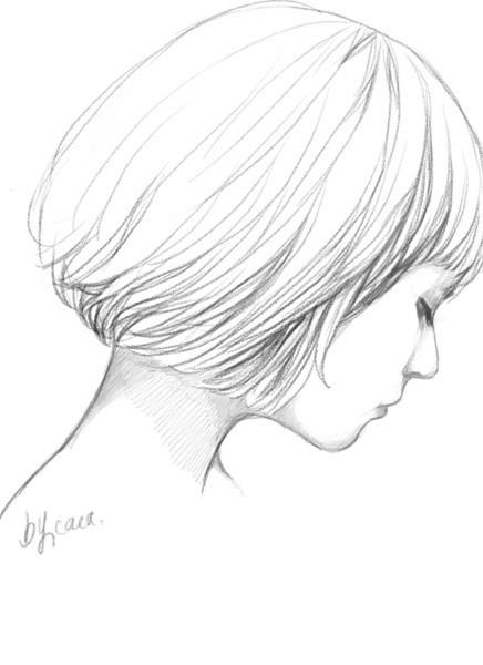 铅笔手绘短发女孩